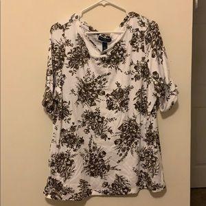 White Karen Scott top with brown floral designs
